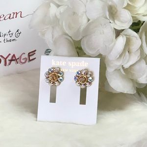 KATE SPADE ♠️ GOLD CRYSTAL EARRINGS WITH TAG